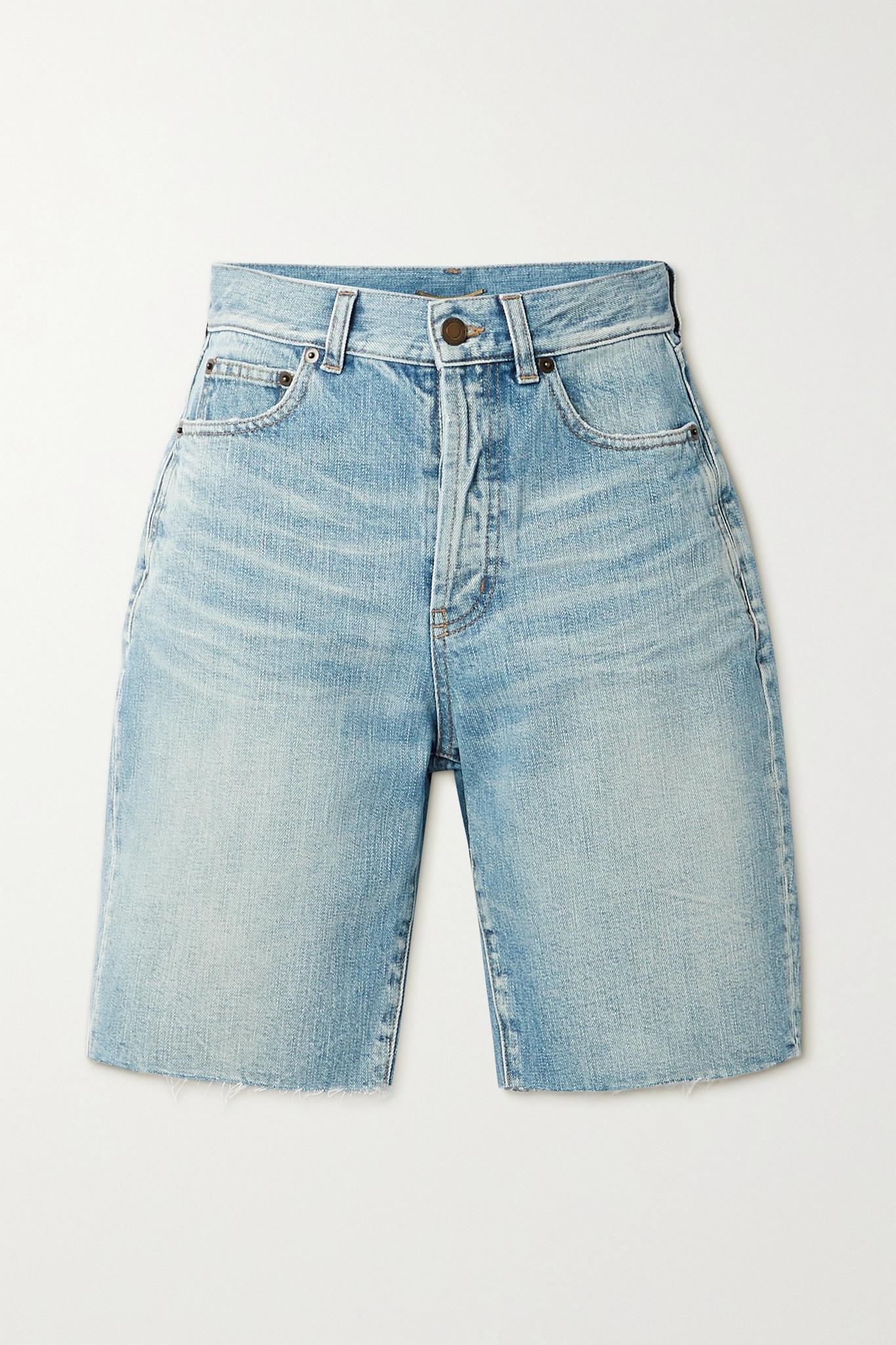 SAINT LAURENT - Frayed Denim Shorts - Blue - 25