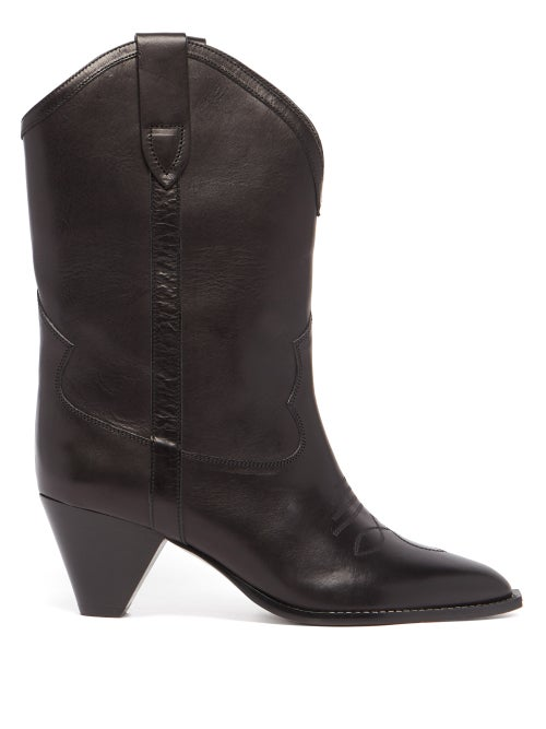 Isabel Marant - Luliette Cone-heel Leather Boots - Womens - Black