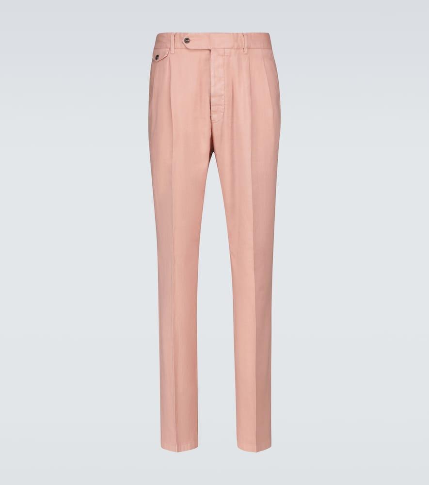 Double-pleated linen-blend pants