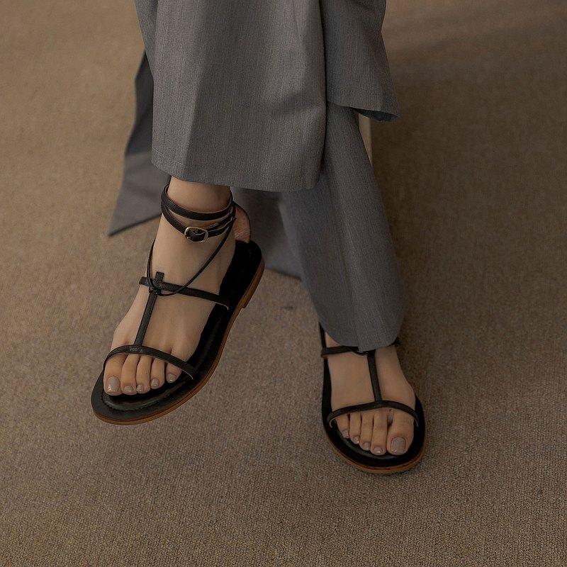 工字形 細帶露趾涼鞋 黑