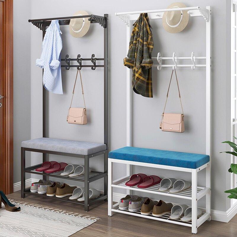 換鞋凳衣帽架 衣架落地室內門口多功能鐵藝衣帽架臥室家用換鞋凳掛衣架一體架子『XY13076』