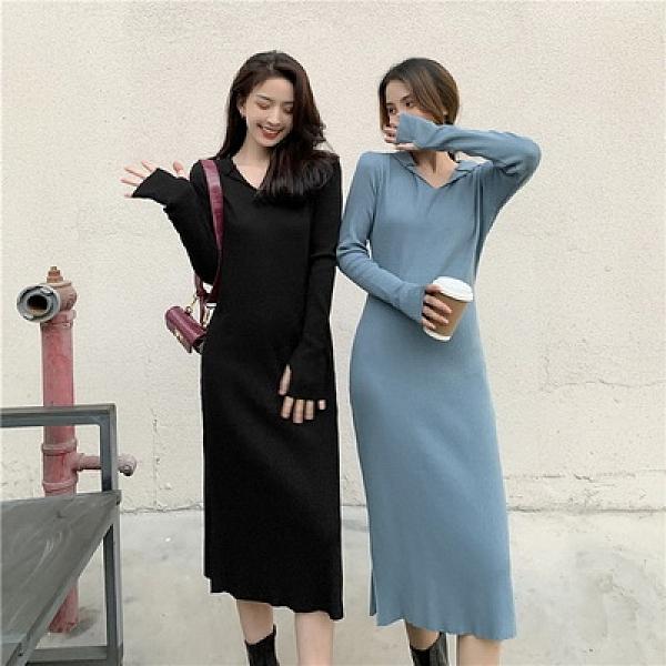(下殺)氣質連帽V領修身長版針織裙溫柔風連身裙【08SG04885】