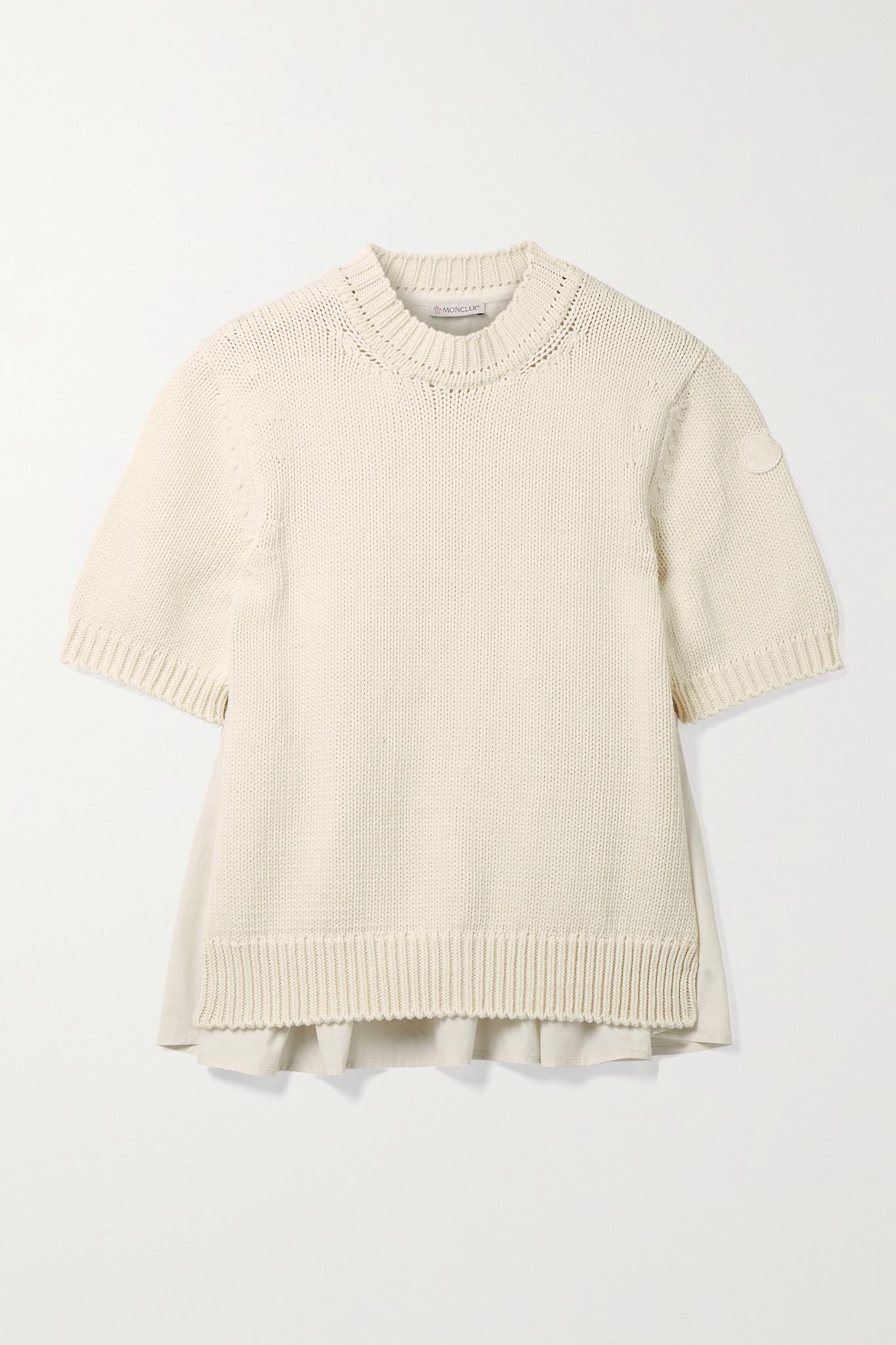 MONCLER - Paneled Cotton And Poplin Sweater - Off-white - medium