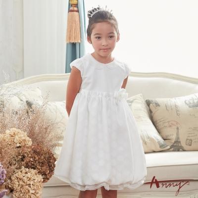 Annys安妮公主-迷霧中的光點-緞面點點珍珠花朵花苞公主半袖洋裝*8124白