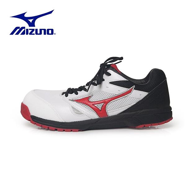 MIZUNO【輕量防護鞋LS鞋帶式-白黑】F1GA200801 美津濃 安全鞋 塑鋼鞋 工作鞋