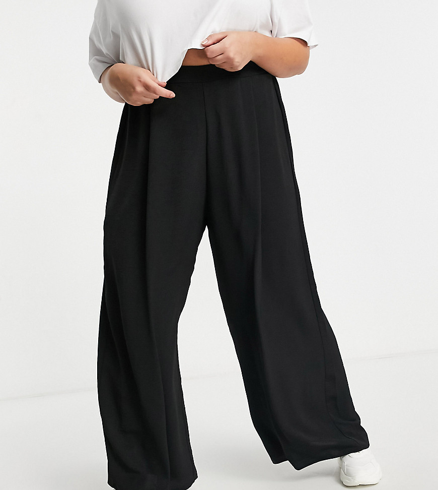 New Look Curve wide leg trousers in black