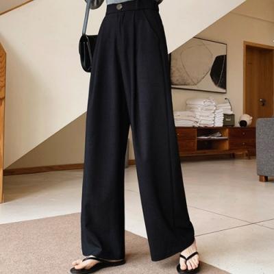 La Belleza素面後鬆緊腰單釦腰打摺側口袋西裝褲闊腿寬褲
