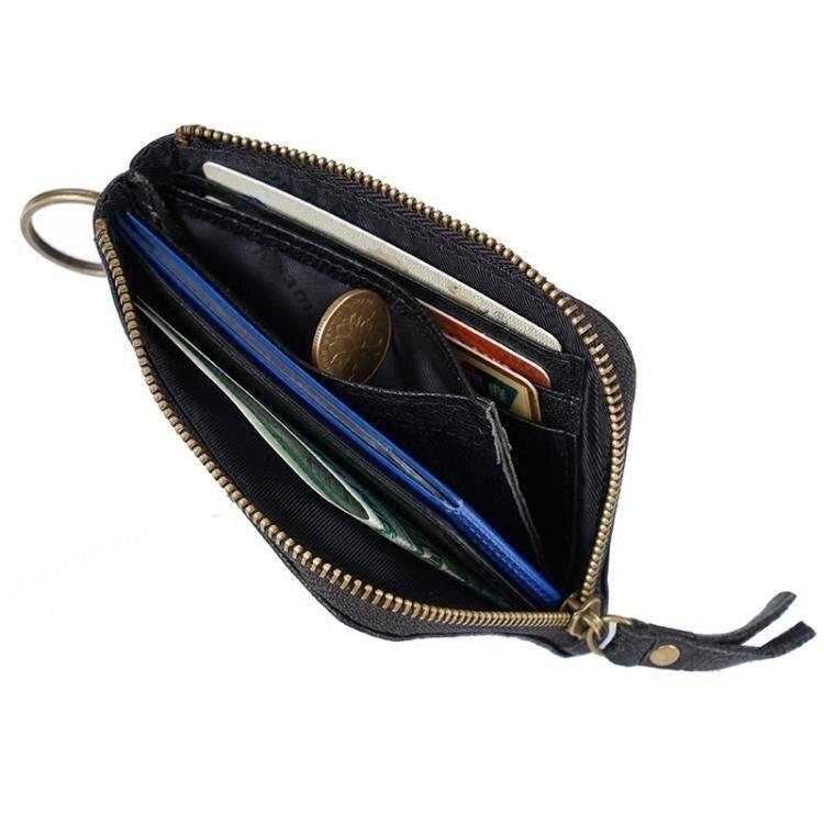 短夾  迷你零錢包真皮拉鍊硬幣包短款小錢包男超薄卡包女鑰匙包