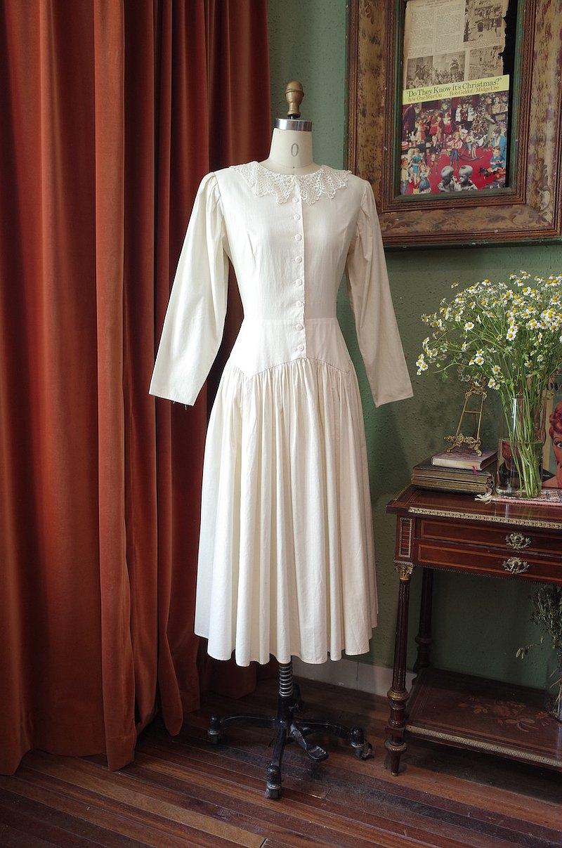 vintage美國制GUNNESAXJessicaMcclintock蕾絲棉布鄉村連衣裙古著