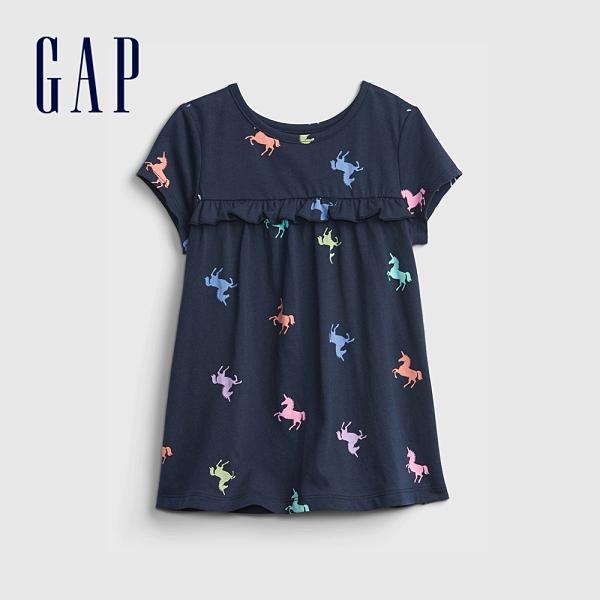 Gap女幼童 布萊納系列 荷葉邊裝飾圓領T恤 664102-海軍藍
