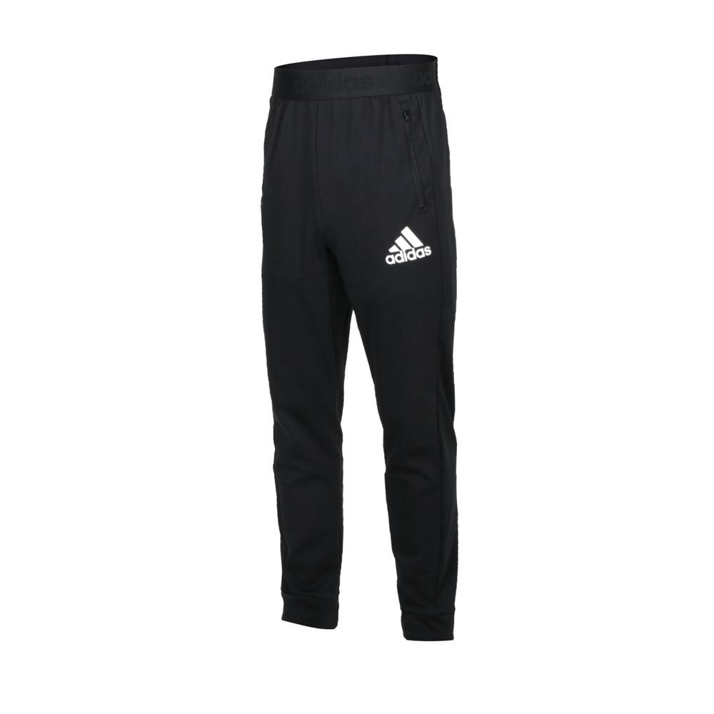 adidas 男休閒長褲-吸濕排汗 針織 慢跑 路跑 亞規 愛迪達 黑白