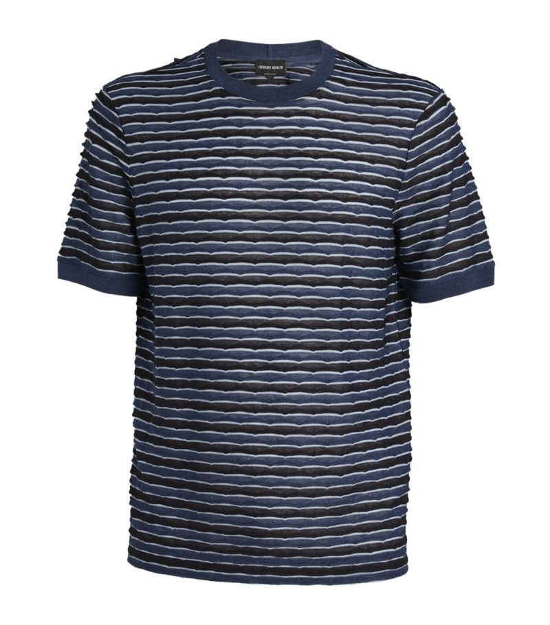 Giorgio Armani Knitted Striped T-Shirt