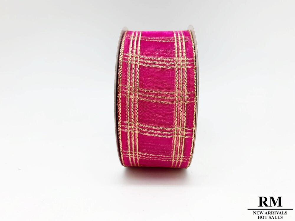 金蔥格子桃色雪紗織帶-38mm