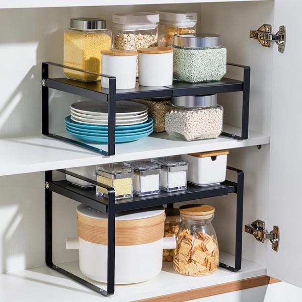 可伸縮廚房置物架臺面櫥柜隔板分層架柜內調料收納神器桌面小架子 璐璐生活館