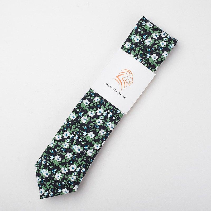 襯衣的犒賞 純棉系列領帶-綠葉白花 C0615-86