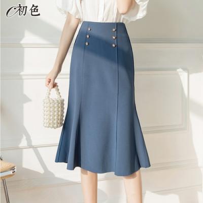 初色  雙排扣魚尾A字裙-共2色-(M-XL可選)