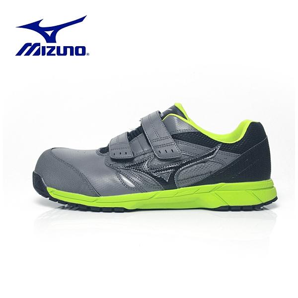MIZUNO【輕量防護鞋LS魔鬼氈-灰綠】F1GA200905 美津濃 安全鞋 塑鋼鞋 工作鞋
