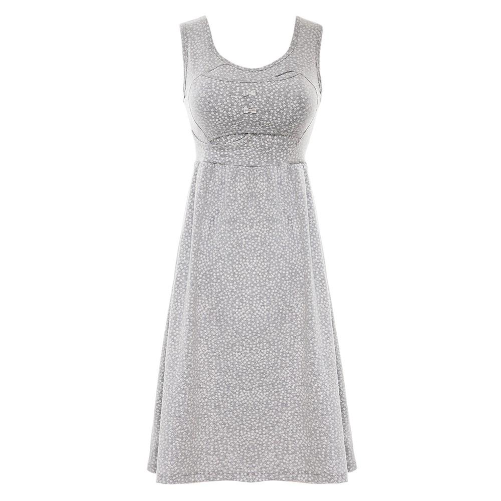 雙C防擴對策 新版 棉感美胸洋裝-淺灰碎花