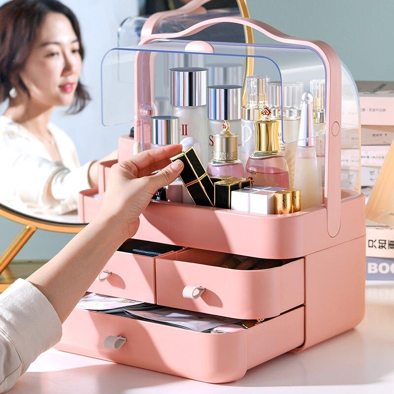 化妝品收納桌面防塵口紅化妝刷整理盒梳妝臺護膚品面膜置物架