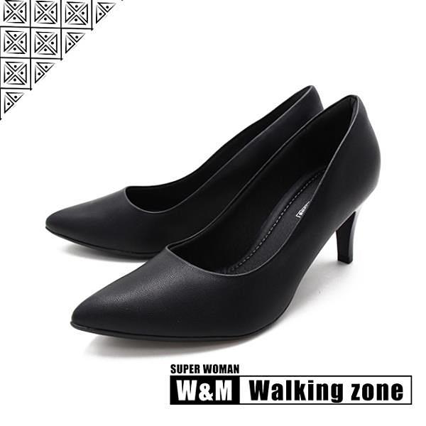【南紡購物中心】WALKING ZONE SUPERWOMAN系列尖頭高跟上班淑女鞋女鞋-黑(另有藍.白.卡其)