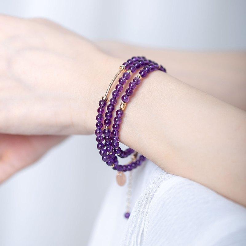 天然紫水晶三圈14KGF手鍊