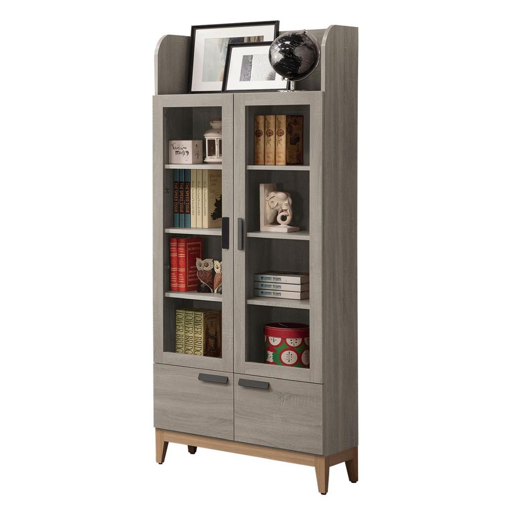 【80.1cm書櫃-A526-2】北歐工業 置物櫃 玻璃實木 書房書櫃書架 櫥櫃 層架收納整理 【金滿屋】