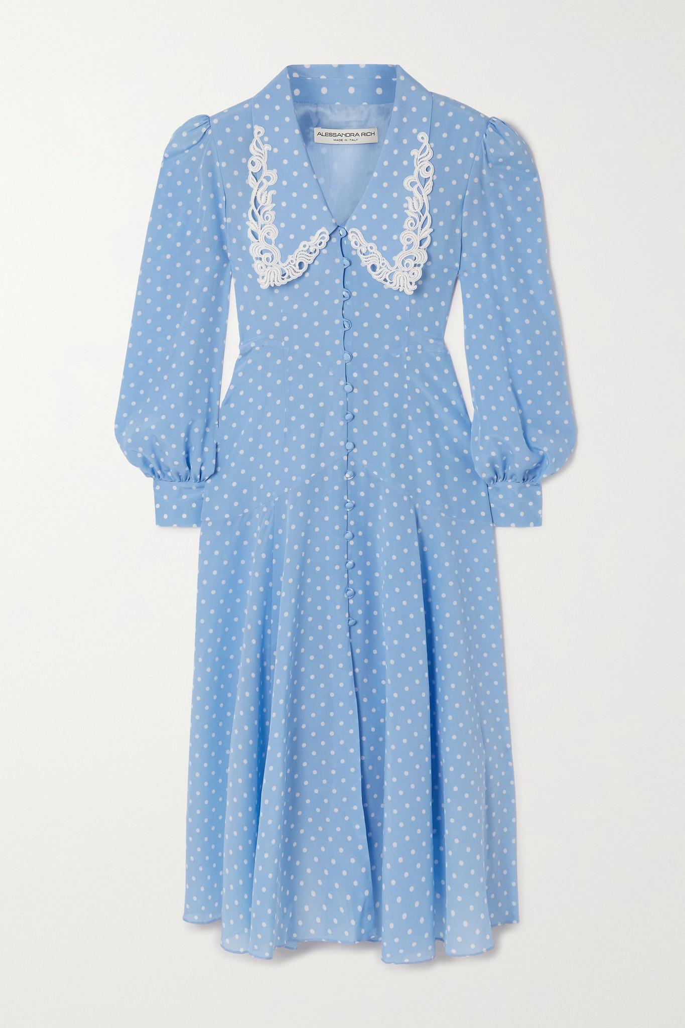 ALESSANDRA RICH - Macramé-trimmed Polka-dot Silk Crepe De Chine Midi Dress - Blue - IT38