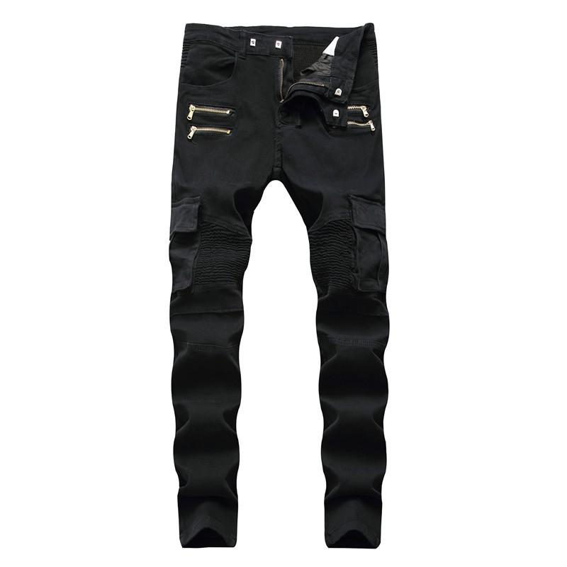 牛仔褲男 男高街機車彈力褶皺拉鍊爆款男士牛仔褲 男士牛仔褲