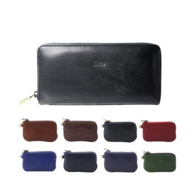 Sika義大利時尚真皮拉鍊式長夾A8236-03質感黑+Sika零錢包-A8227A
