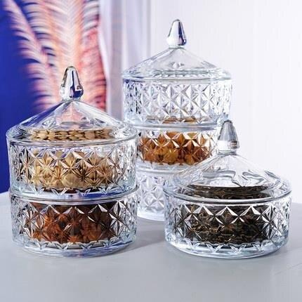 密封罐 加厚帶蓋玻璃零食儲物罐分格瓜子干果堅果糖果收納創意茶幾