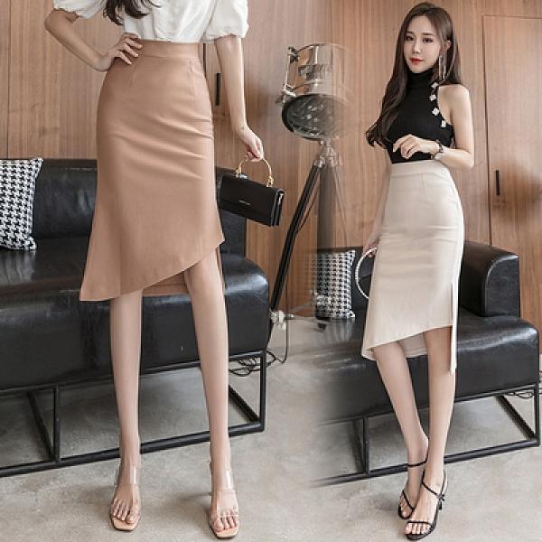 包臀裙OL半身裙S-3XL1083不規則半身裙女高腰包臀開叉性感修身魚尾裙中長裙子D734依佳衣