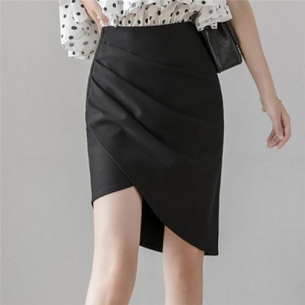 包臀裙OL半身裙S-3XL2054#不規則職業裙前開衩兩片式褶皺顯瘦半身裙女時尚包臀裙T621紅粉佳人