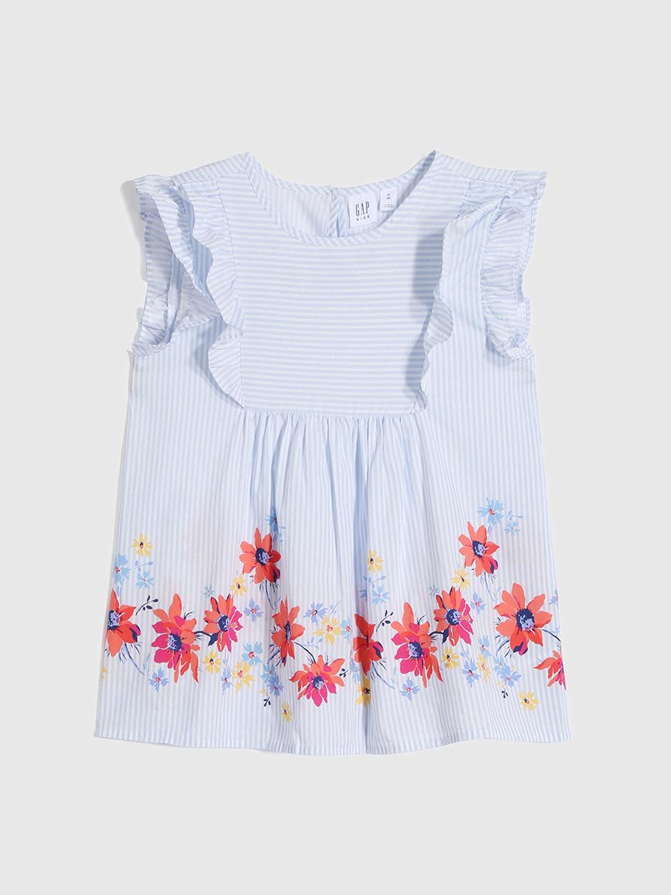 女童 甜美純棉花卉無袖襯衫