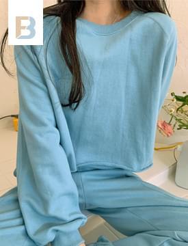 韓國空運 - Joy Cutoff Crop Sweatshirt 長袖上衣