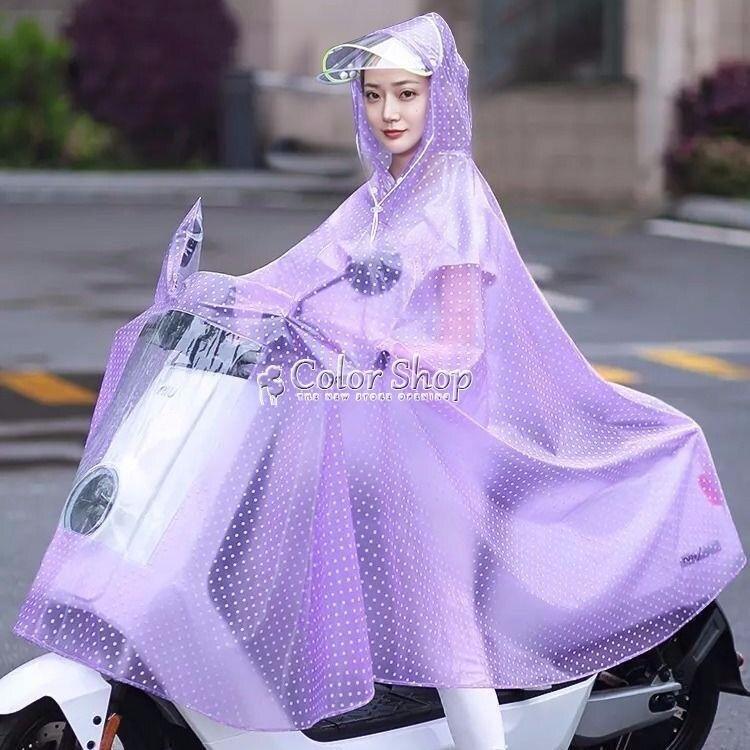 電動車雨衣摩托車雨披雙帽檐單人雙人加大加厚男女成人透明雨衣