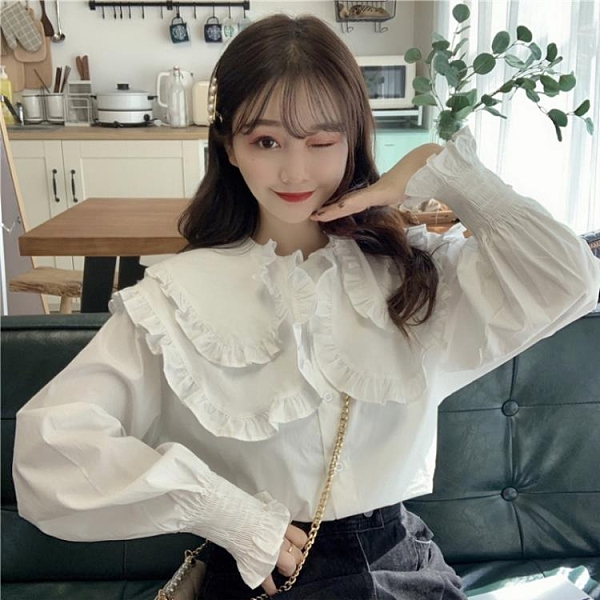 白襯衣春季款韓版荷葉邊娃娃領長袖白襯衫女設計感小眾上衣外穿 【夏日新品】