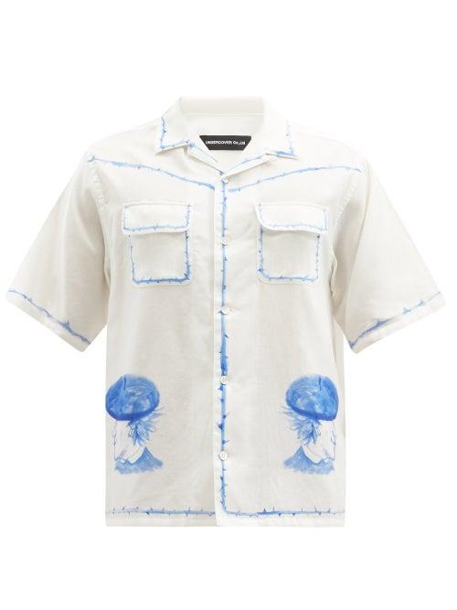 Undercover - Beret Lads Watercolour-print Cotton-poplin Shirt - Mens - White