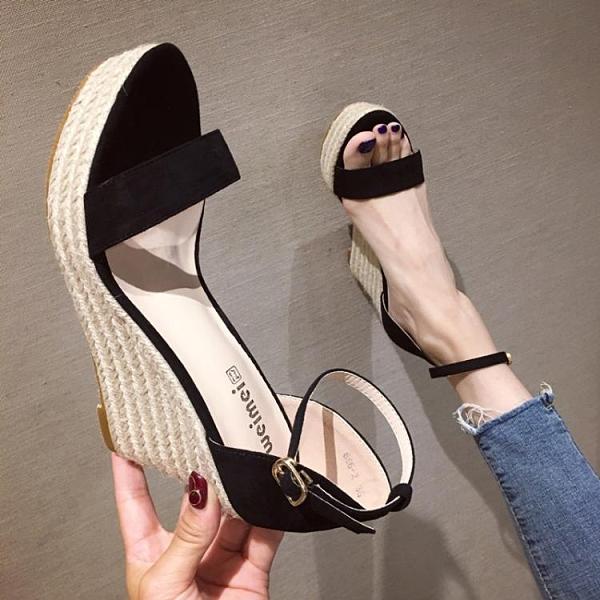 楔形涼鞋 2021夏季新款性感超高跟坡跟女涼鞋簡約一字帶防水臺厚底露趾女鞋