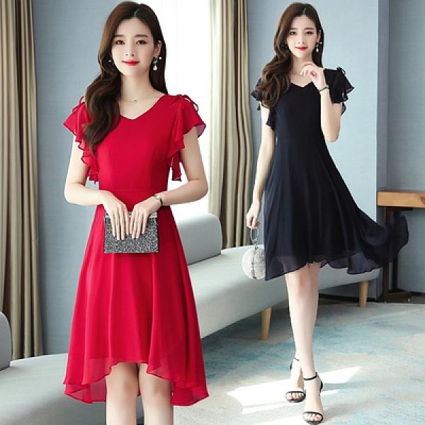 短袖洋裝輕熟風黑色連身裙夏新款女赫本風不規則顯瘦高貴雪紡有女人味的裙子T105韓衣裳