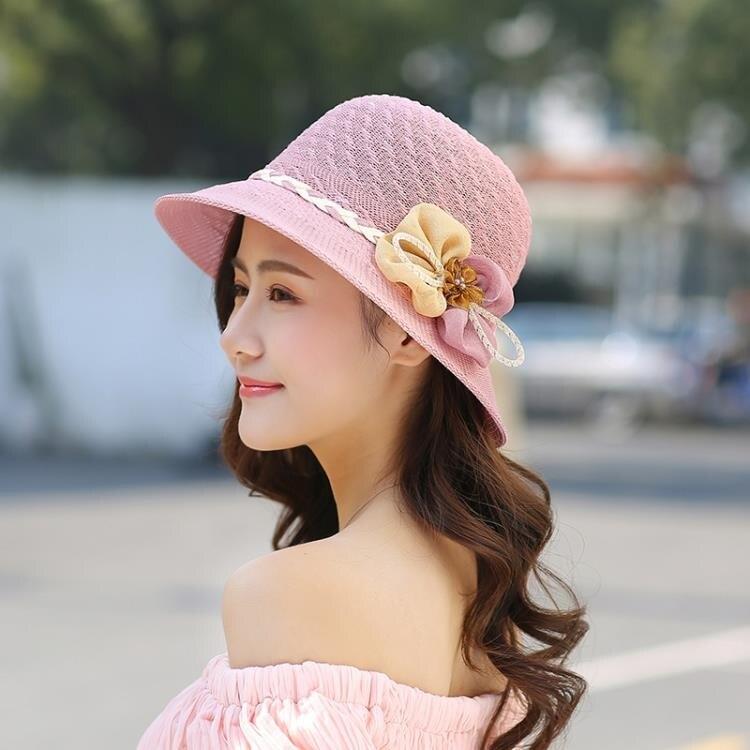 草帽 帽子女夏天花朵遮陽帽夏季可折疊太陽帽防曬沙灘帽遮臉韓版潮