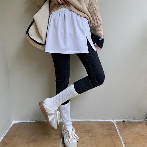半身短裙 打底女2021新款春季神器疊穿內搭假下擺開叉白色A字短裙潮