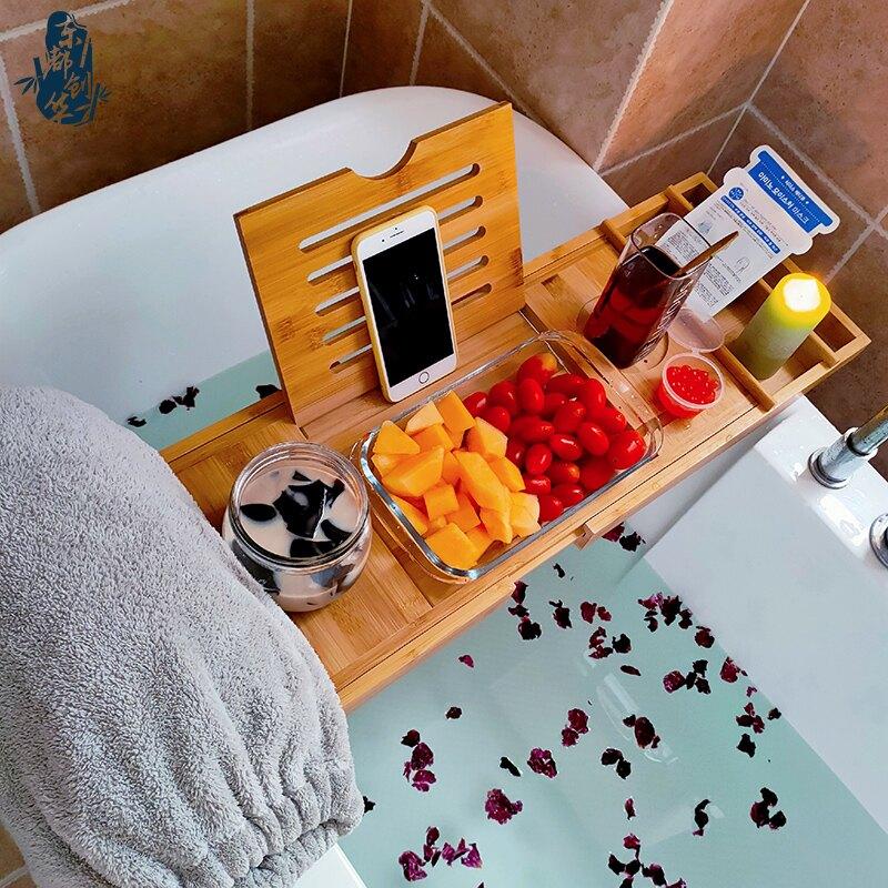浴缸置物架 歐式可調節浴缸架輕奢伸縮防滑浴室浴缸置物架板衛生間泡澡木桶架『XY13428』
