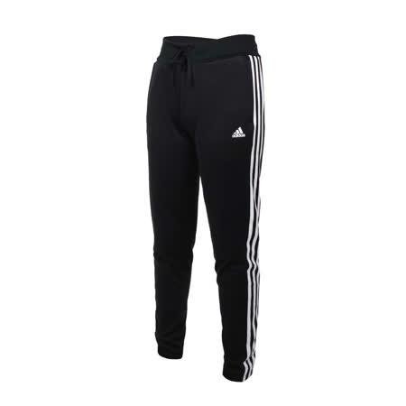 (女) ADIDAS 運動長褲-亞規 針織 吸濕排汗 慢跑 路跑 愛迪達 黑白