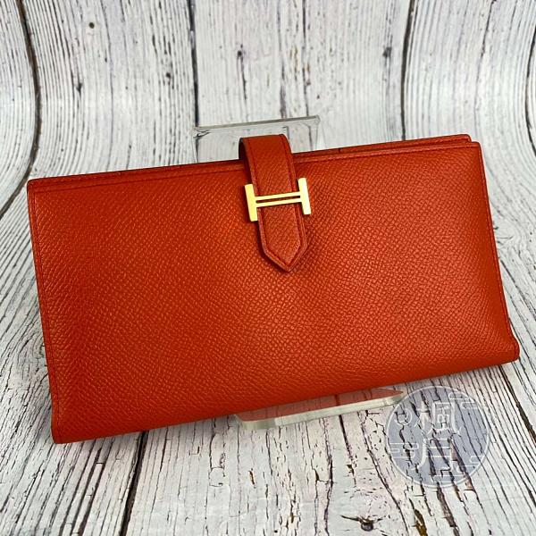BRAND楓月 HERMES 愛馬仕 T刻 BEARN 橘色 橘紅色 金釦 長夾 皮夾 錢包 錢夾