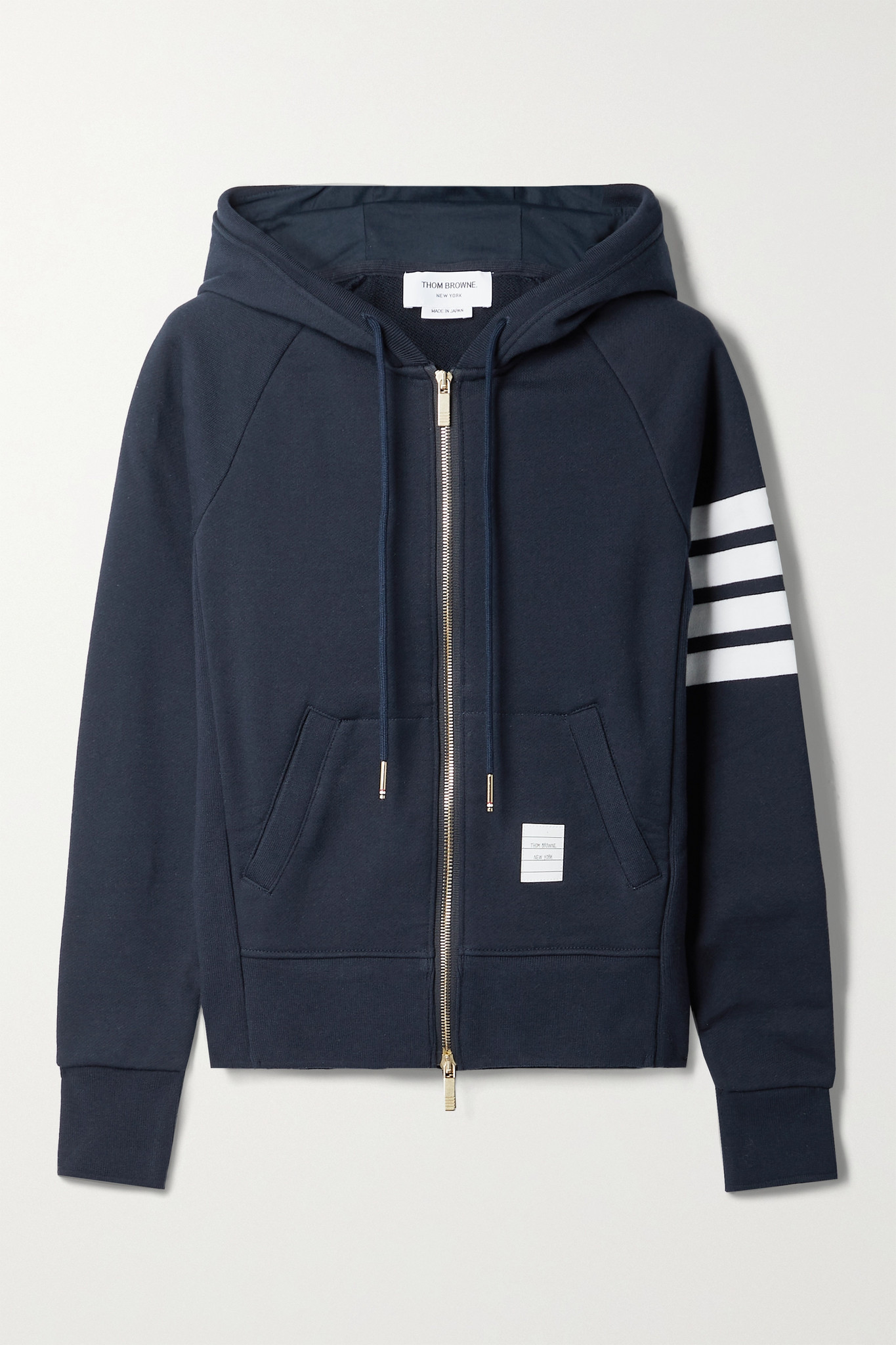 THOM BROWNE - 条纹纯棉平纹布帽衫 - 蓝色 - IT42