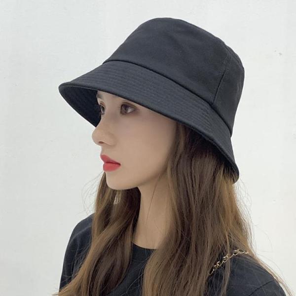 漁夫帽 帽子女正韓潮黑色漁夫帽夏季薄款女透氣遮陽防曬日系百搭純色盆帽-Ballet朵朵