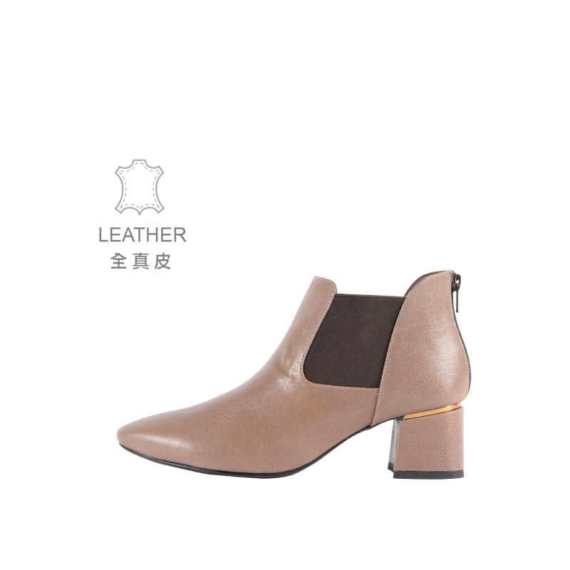 (台灣製造-全真皮系列) 暮綠森林短靴 卡其棕