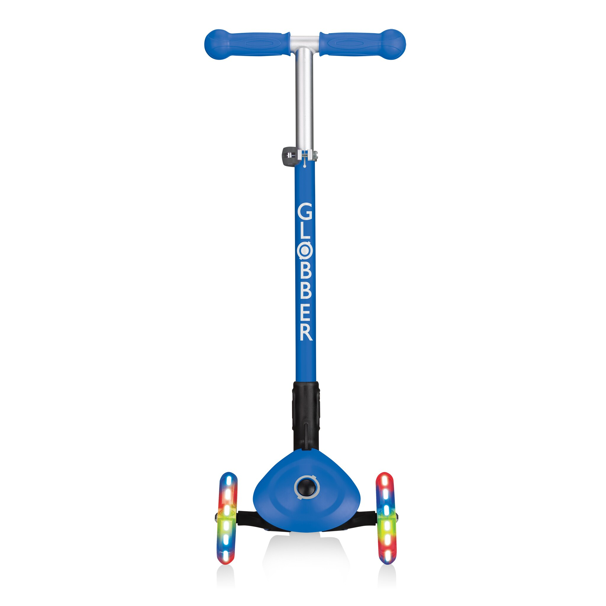 法國 GLOBBER 哥輪步 兒童2合1三輪折疊滑板車夢幻版(LED發光前輪)-海軍藍色【紫貝殼】