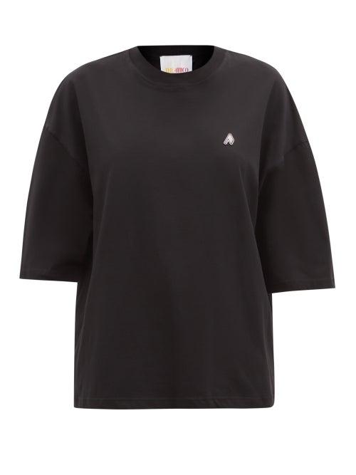 The Attico - Cara Logo-appliqué Oversized Cotton-jersey T-shirt - Womens - Black