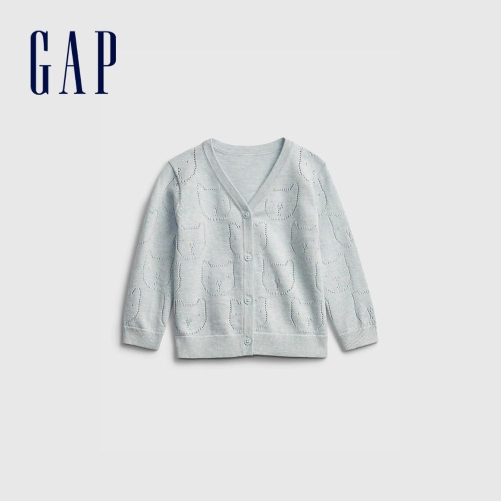 Gap 嬰兒 純棉童趣刺繡針織外套 719912-淡藍色
